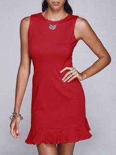 Red Round Neck Sleeveless Mermaid Dress - Red S