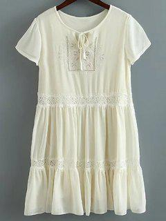 Lace Splice Round Collar Short Sleeve Dress - Milk White S