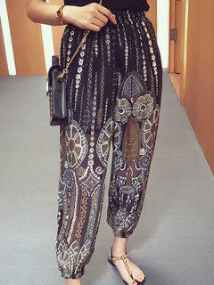 Ethnic Print Wide Leg See-Through Pants - Black M