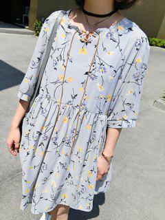 Floral V Neck Half Sleeve Chiffon Dress