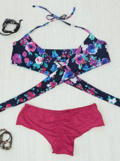 Printed Halter Wrap Bikini Set - Red Xl
