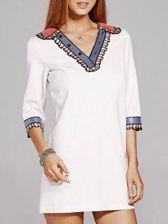 Sequins V-Neck 3/4 Sleeve Beading Dress - White L