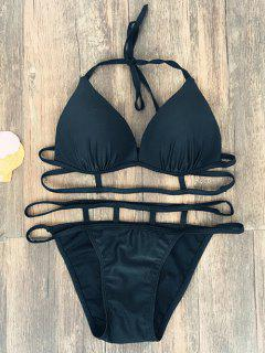 Halter Strappy Caged Bikini - Black M