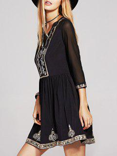 Beaded 3/4 Sleeve Sequins Embroidery Dress - Black S