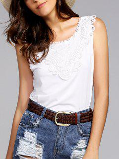 Lace Spliced Round Neck Tank Top - White Xl