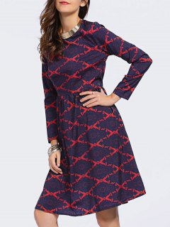 Argyle Long Sleeve High Waisted Dress - Blue And Red S