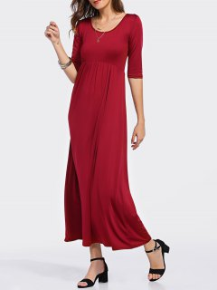 Taille Haute Encolure Dégagée 3/4 Robe Rouge à Manches - Rouge S