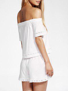 Off The T-shirt De L'épaule Et Blanc Shorts Twinset - Blanc M