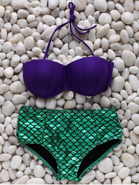 outfits Fish Scale Halter Mermaid Bikini Set - GREEN L Mobile