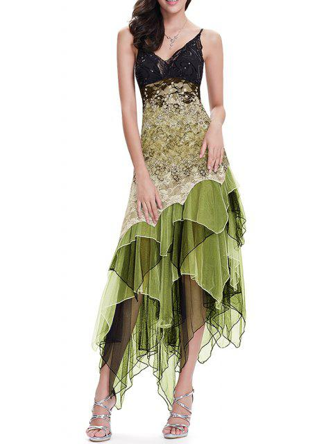 buy Sequin Floral Layered Asymmetric Slip Dress - ARMY GREEN S Mobile