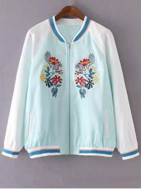 shop Floral Embroidery Stand Neck Jacket - LAKE BLUE M Mobile