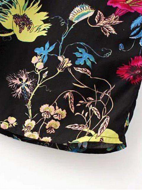 online Drawstring Floral Print Palazzo Pants - BLACK L Mobile