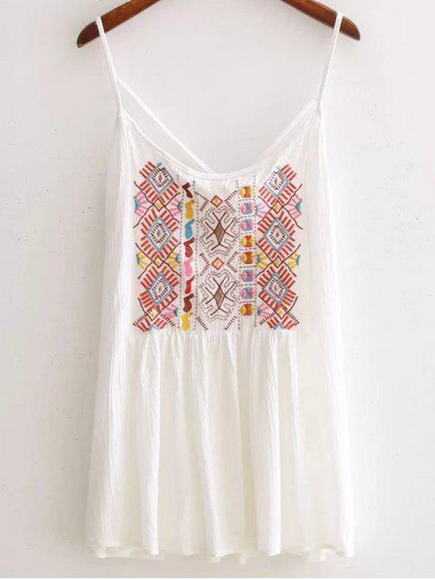 women's Ethnic Embroidery Cami Backless Tank Top - WHITE L Mobile