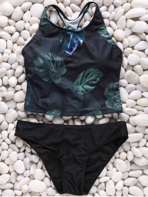 outfits Leaf Print High Neck Bikini Set - COLORMIX XL Mobile