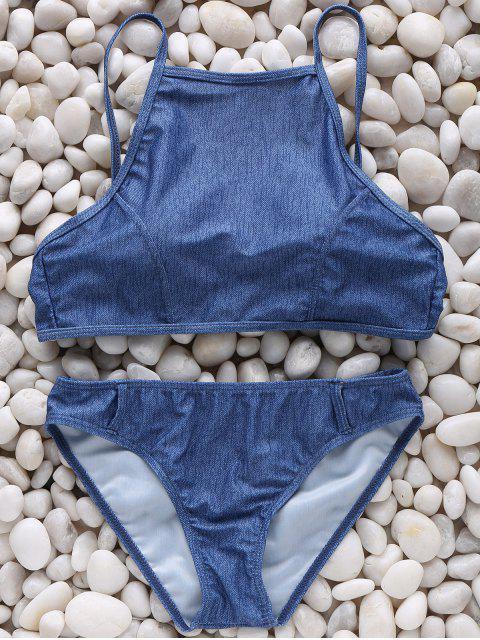 fancy High Neck Chambrary Cami Bikini Set - BLUE S Mobile