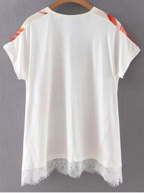 affordable Leaf Print V Neck Short Sleeve T-Shirt - COLORMIX L Mobile