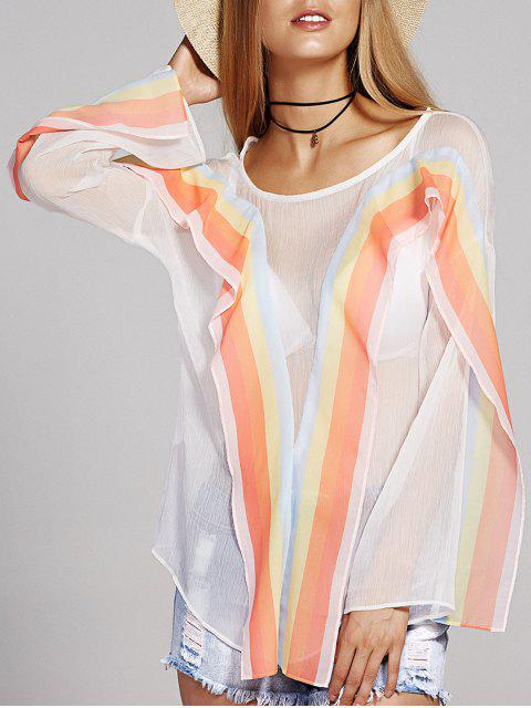 Round Neck Langarm Striped Chiffon-Bluse - Weiß L Mobile