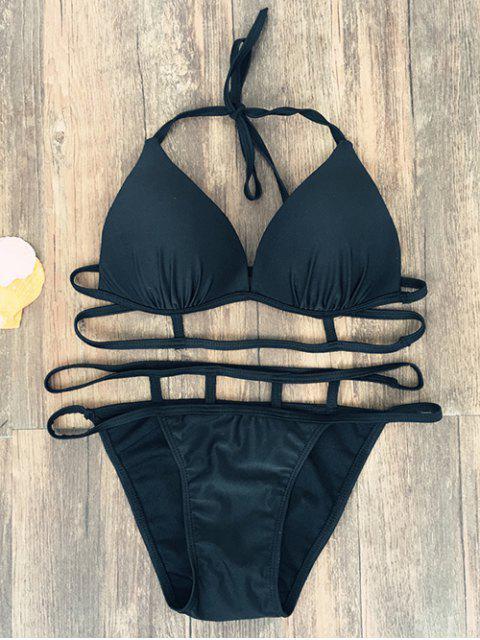 outfit Halter Strappy Caged Bikini - BLACK S Mobile