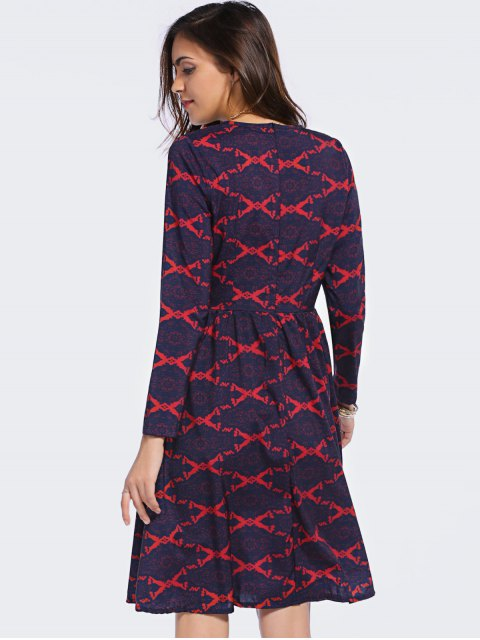 fancy Argyle Long Sleeve High Waisted Dress - BLUE AND RED S Mobile