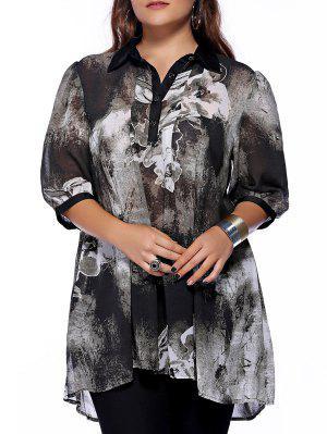 Chic Plus Size Shirt col boutonné imprimé femmes s 'Blouse