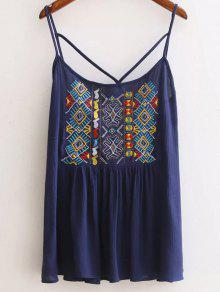 Ethnic Embroidery Cami Backless Tank Top - Cadetblue L