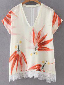 Leaf Print V Neck Short Sleeve T-Shirt - S