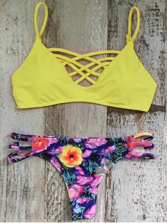 women's Criss Cross Cami Floral Bikini Set - COLORMIX S