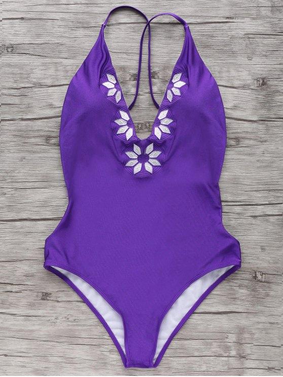 hot Embroidered Cami One Piece Swimwear - PURPLE S