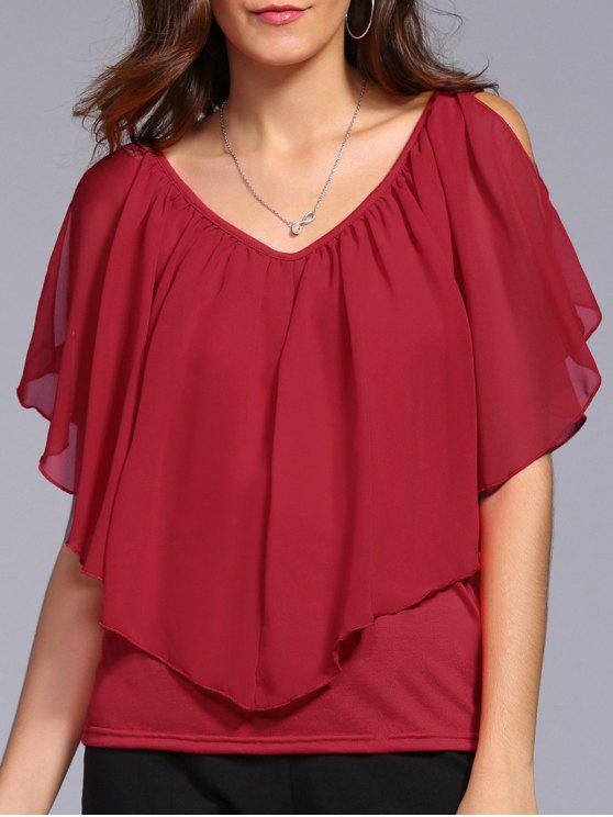 4d1943b1122b3 18% OFF  2019 V Neck Cold Shoulder Overlay Chiffon Blouse In RED XL ...