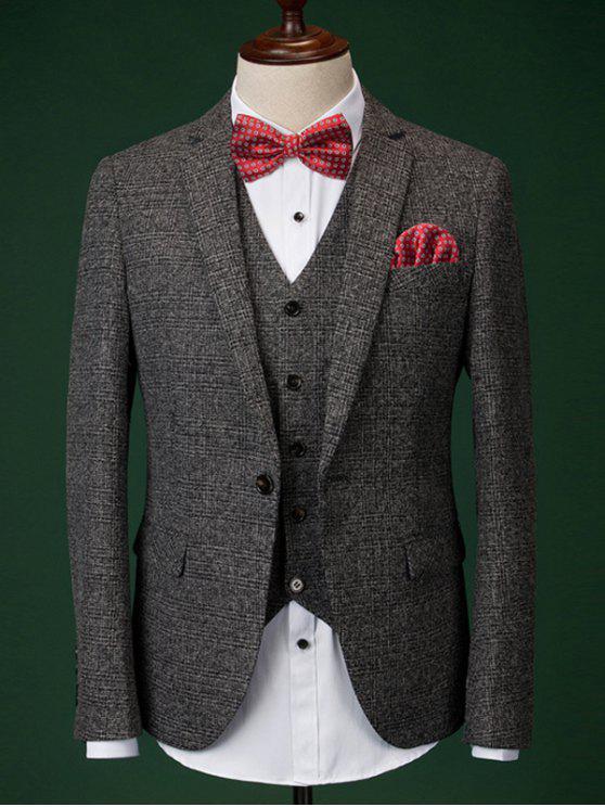 Men  's Formal Houndstooth Blazer + Vest + Pants mit Fliege und Schals - Dunkelgrau M