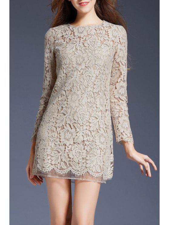 trendy Mini Lace Long Sleeve Dress - APRICOT M