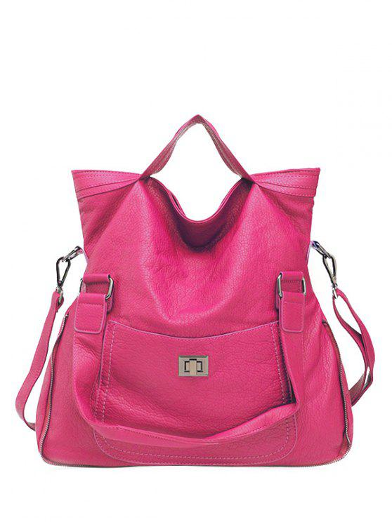 women's PU Leather Solid Color Hasp Tote Bag - ROSE MADDER