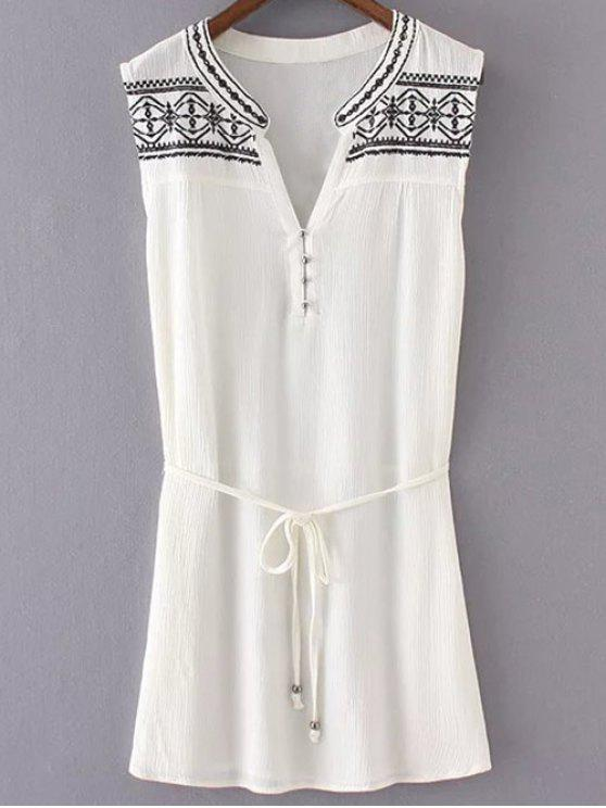 fancy Embroidered Belted White Dress - WHITE S