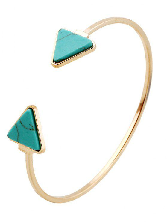 chic Faux Turquoise Triangle Cuff Bracelet - GREEN