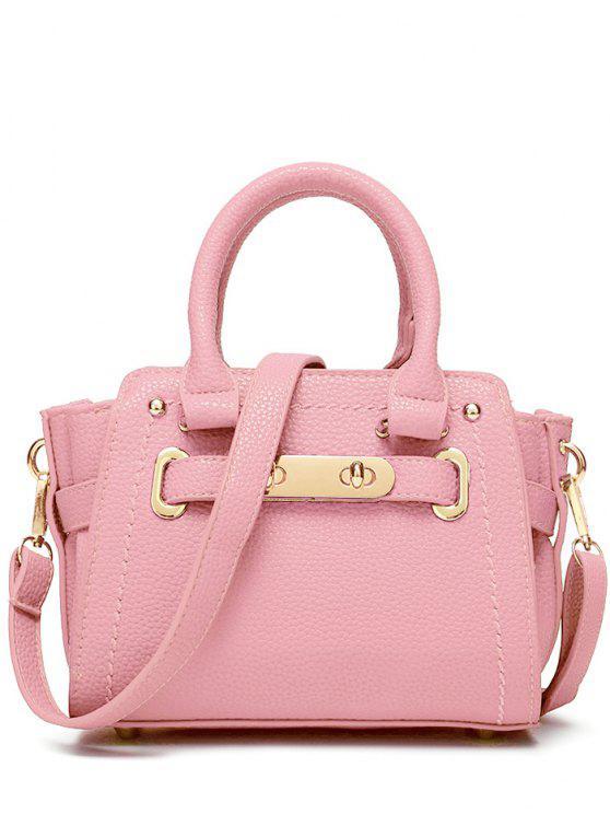 Sac à épaule embelli métal couture à couleur pure - ROSE PÂLE