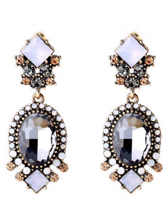 ladies Faux Crystal Rhinestone Oval Earrings - GRAY