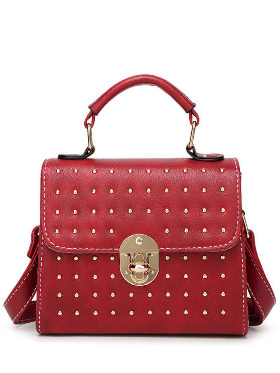chic Rivet Stitching Hasp Tote Bag - WINE RED