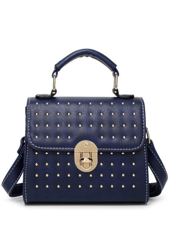 fancy Rivet Stitching Hasp Tote Bag - BLUE