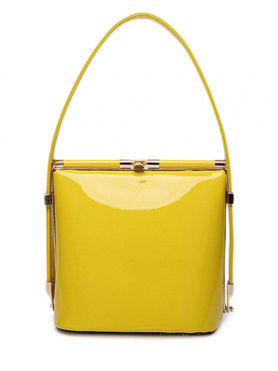 affordable Patent Leather Metal Solid Color Shoulder Bag - YELLOW