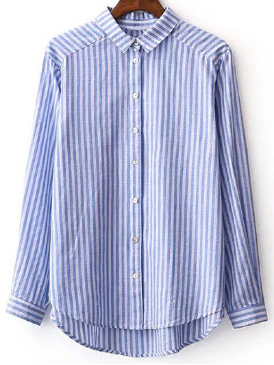 affordable Striped Long Sleeve Boyfriend Shirt - BLUE AND WHITE L