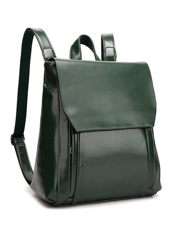 new Solid Color Double Zips Backpack - BLACKISH GREEN