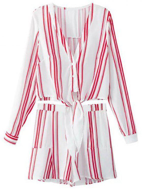 Recortada camiseta con cuello en V y pantalones cortos de rayas Twinset - ROJO CON BLANCO L