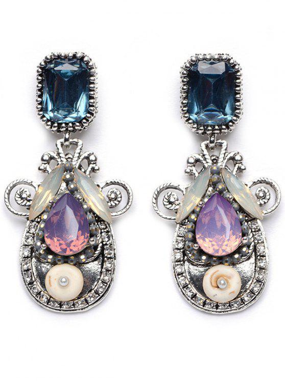 lady Rhinestone Faux Crystal Water Drop Earrings - PURPLE