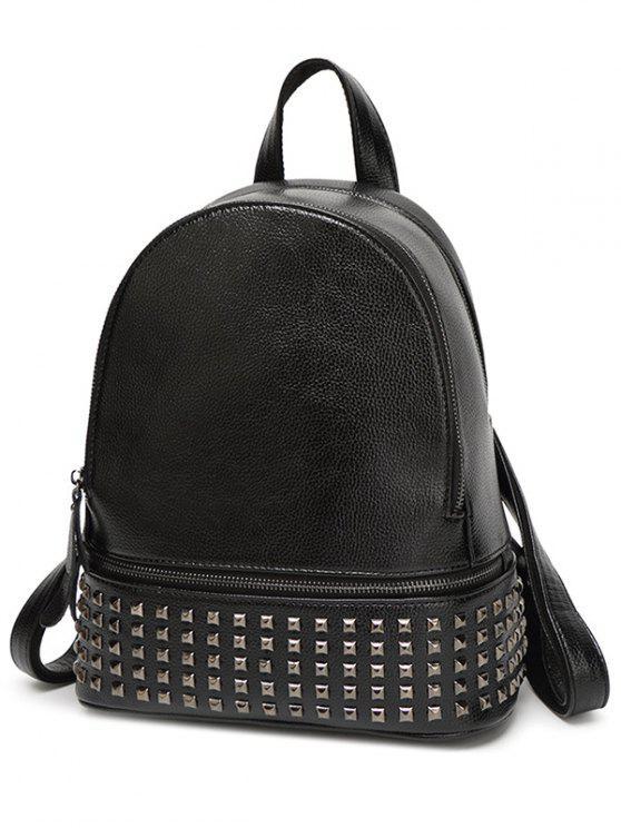 unique Rivet PU Leather Solid Color Backpack - BLACK