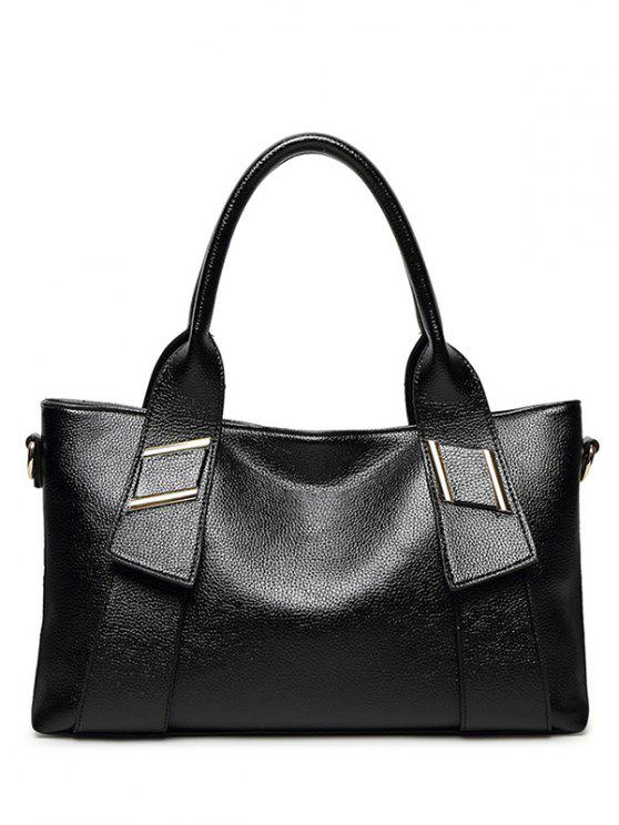 womens PU Leather Solid Colour Metallic Tote Bag - BLACK