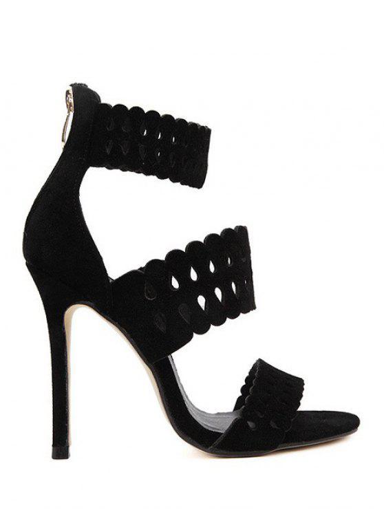 Ahueca hacia fuera las sandalias del talón de la correa del tobillo del estilete - Negro 38
