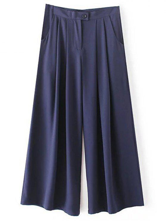 women Solid Color High Waisted Culotte Pants - CADETBLUE S