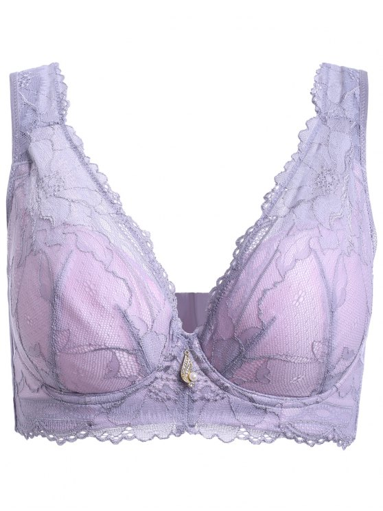 womens Embroidery Laced Padded Bra - LIGHT PURPLE 80D