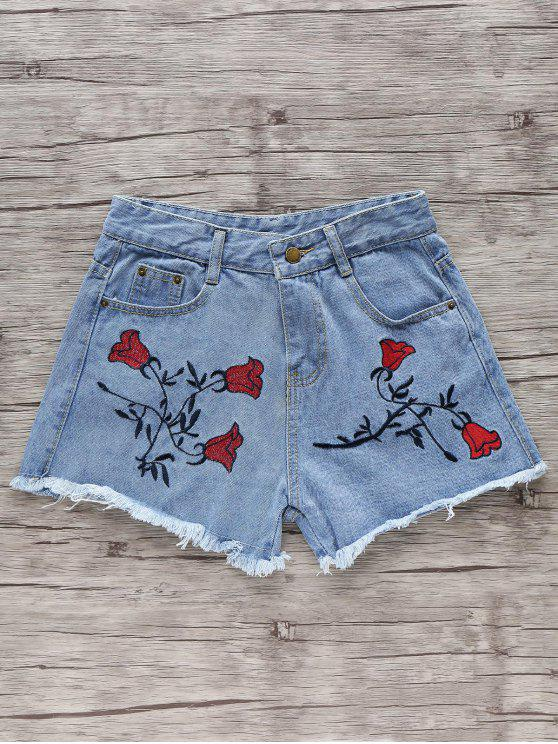 Flower Embroidery High Waisted Denim Shorts LIGHT BLUE: Shorts S ...