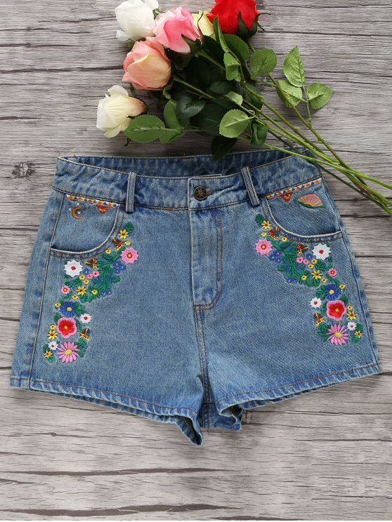 dc3b65923c 33% OFF] 2019 Denim Floral Embroidery Shorts In LIGHT BLUE | ZAFUL